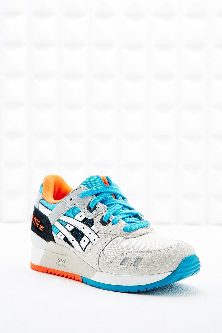 asics gel lyte trainers in grey and blue