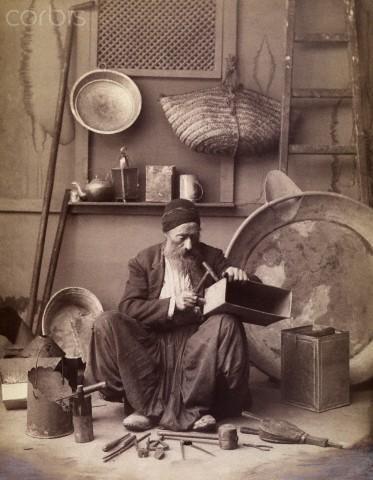 Bakır Ustası at Kapalıçarşı, Copper Master at GrandBazaar, 1909 Istanbul