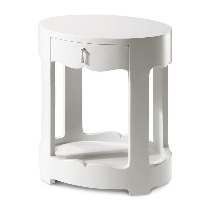 Bungalow 5 Brigitte 1-Drawer Side Table in White Lacquer with Silver Tassel Pull