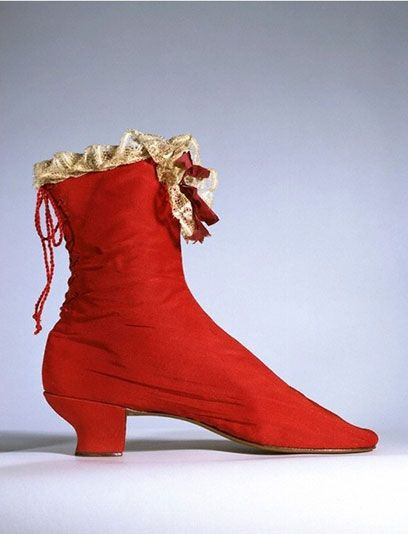Elegantly simple back-lacing women's boots, 1865-1875, French or English.