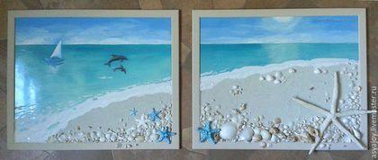 Пейзаж ручной работы. Ярмарка Мастеров - ручная работа. Купить Морские панно «Безмятежность». Handmade. Бирюзовый, картина в гостиную, песок