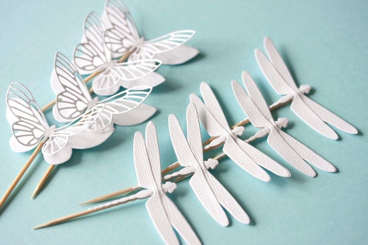 white paper cupcake toppers with butterflies and dragonflies wedding baby shower party christmas. $3.10, via Etsy.