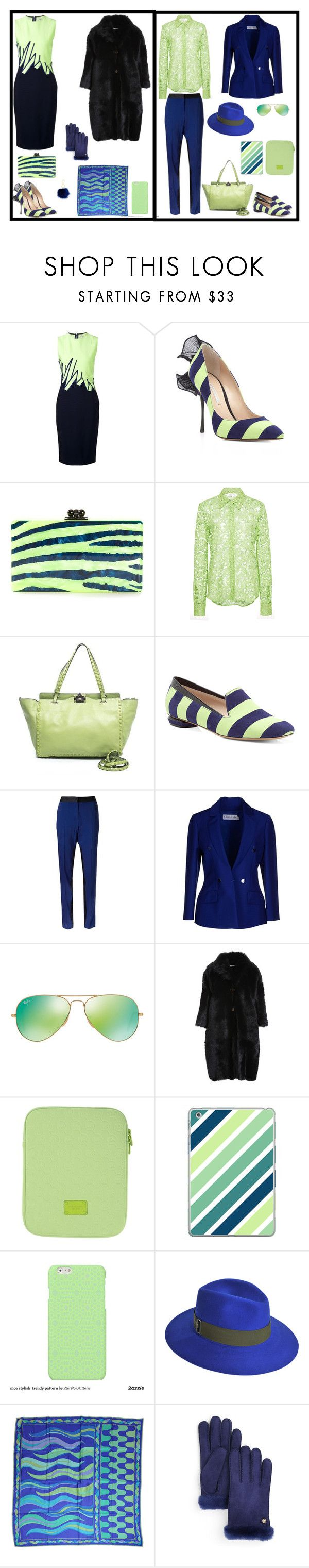 """""""scarpe a strisce blu verde acido"""" by silvia-cavellini ❤ liked on Polyvore featuring Thierry Mugler, Nicholas Kirkwood, Edie Parker, Isa Arfen, Valentino, Prabal Gurung, Christian Dior, Ray-Ban, Michael Kors and Casetify"""