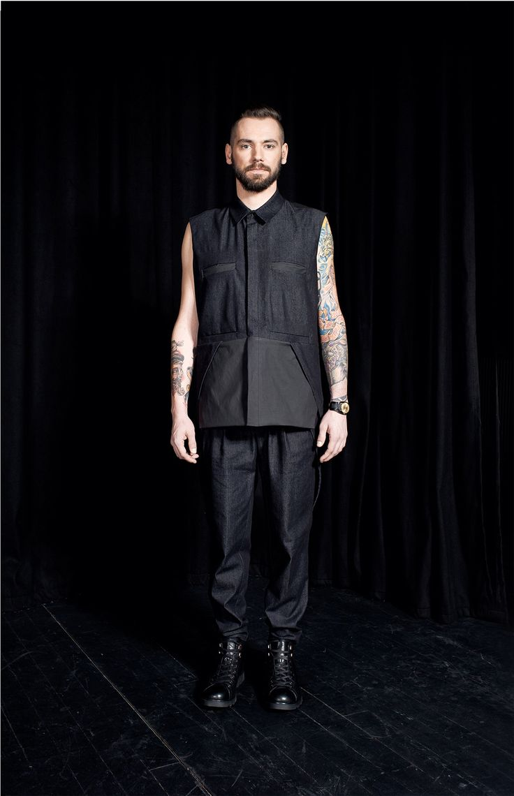 MEI KAWA | Sleeveless Black Denim Gilet