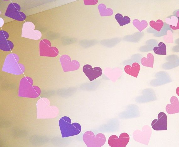 Paper Garland, Purple Heart Garland, Wedding Decor, Purple Hearts birthday party decor, Bridal shower decor, party garlands, photo prop