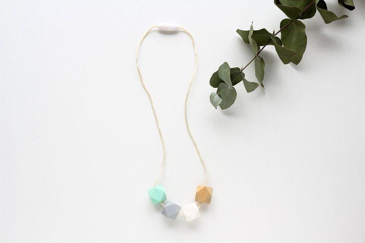 Silicone Teething Necklace! Breastfeeding Nursing Necklace  White, Grey, Wood and Mint beads