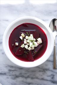 Clear Summer Borscht (chilled beet soup) inspired from borscht I had in Poland.