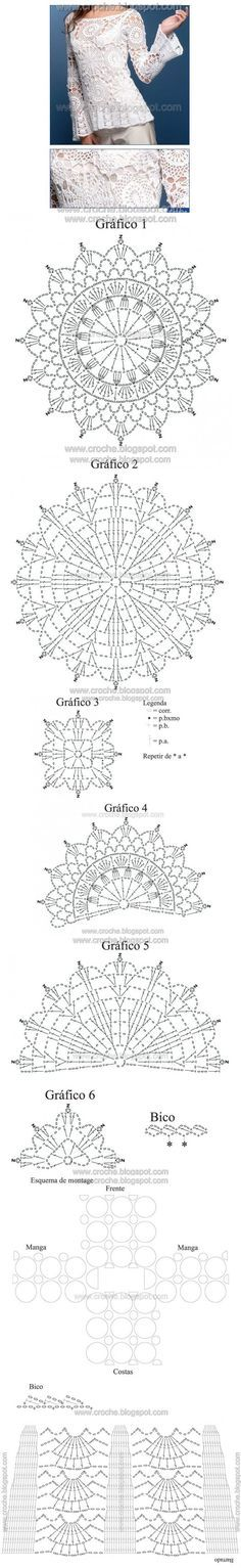 Remera tejida - Crochet ✿⊱╮Teresa Restegui http://www.pinterest.com/teretegui/✿⊱╮