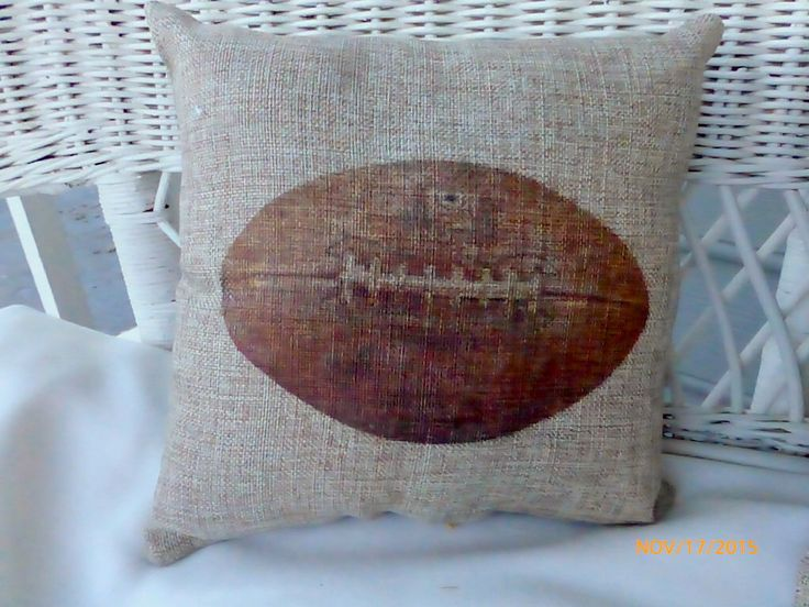 Football Pillows - Burlap pillows - Vintage sports pillows - Boys room decor - baby boys nursery pillows - Football decor - gift for him by JulieButlerCreations on Etsy https://www.etsy.com/listing/285390885/football-pillows-burlap-pillows-vintage