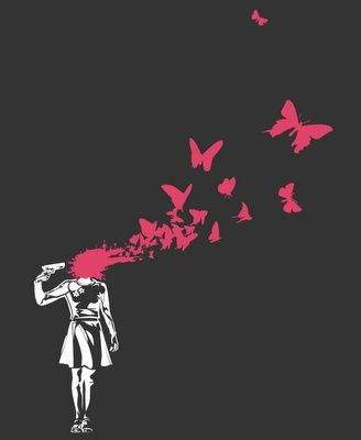 Banksy Death Art It's startling, but there is a point to it.  Banksy often touches on very political subjects - to raise awareness about what is truly going on in society. But it is easy to interpret his work to mean other things. For example - this piece focuses on children and their innocence (depicted through the pink butterflies - which are predominantly used to represent blood and death) but also war and culpability through suicide.