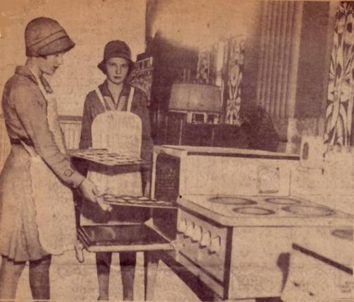 In 1932, Virginia Marley and Mildred Meyer of Girl Scout Troop 12 in Overbrook posed for this photograph while baking cookies for Philadelphia day nurseries to promote a United Campaign to raise $9 million for relief. Two years later, Keebler-Wyl in Philadelphia would bake 100,000 boxes of the first commercially produced Girl Scout Cookie, a vanilla cookie in the form of a trefoil, the Girl Scout symbol. Find Girl Scout Cookies