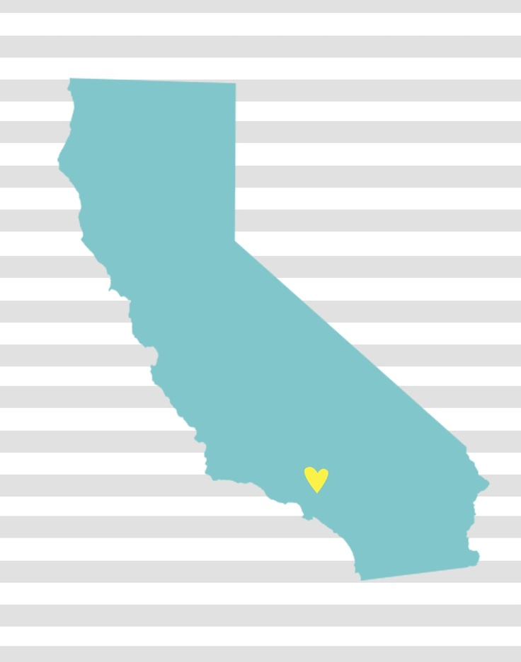 Free printables for each state and hearts to put over the city where you live.