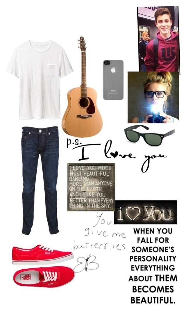 """""""So happy to see you again Vans!! P.S. I love you- Shawn Mendes"""" by andreadellalibera ❤ liked on Polyvore featuring Old Navy, True Religion, Vans, Incase, Ray-Ban, Seletti and Sugarboo Designs"""