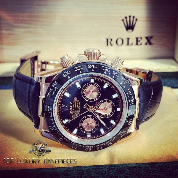 Rolex Daytona rose gold with black genuine leather.