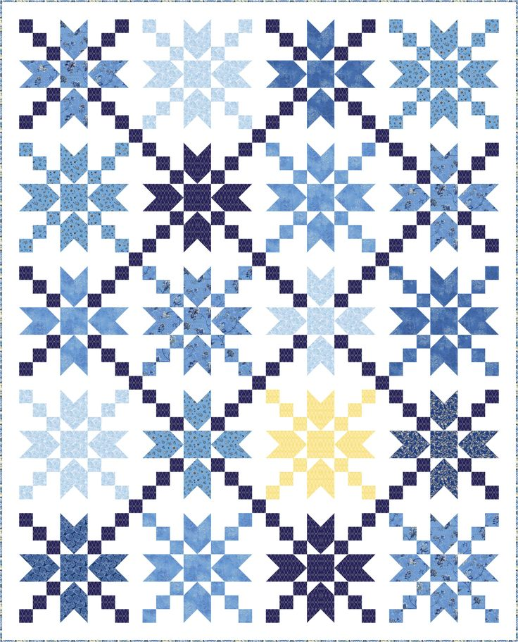 """FREE """"Starbust"""" quilt pattern using the collection, """"Brittany"""" by Dover Hill Studios. Designed by Wendy Sheppard. Finished size: 75"""" x 93""""."""