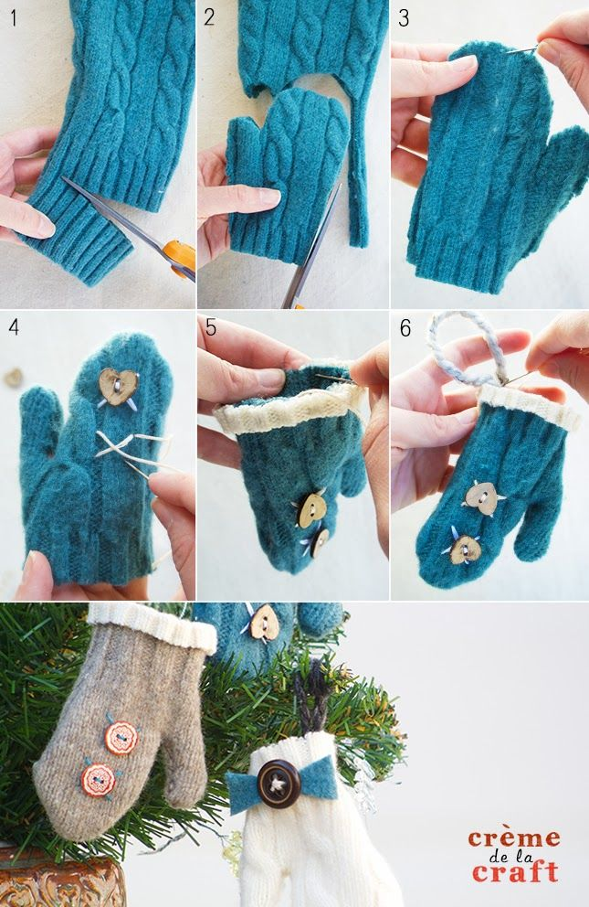 DIY: Mini Mitten Ornaments from an Old Sweater
