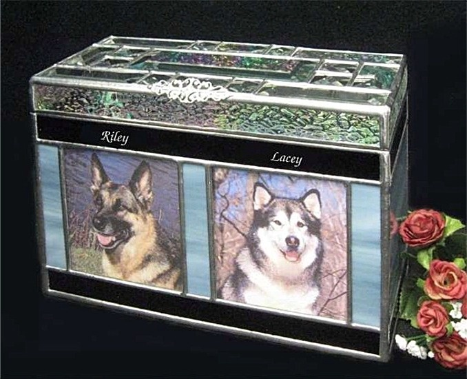 Companion Pet Urn for two pets. We make each urn to order with many colors to choose from, available in small, medium and large. Go to our website www.raysofjoy.com or www.etsy.com to see all our sample Pet and Human Urns.