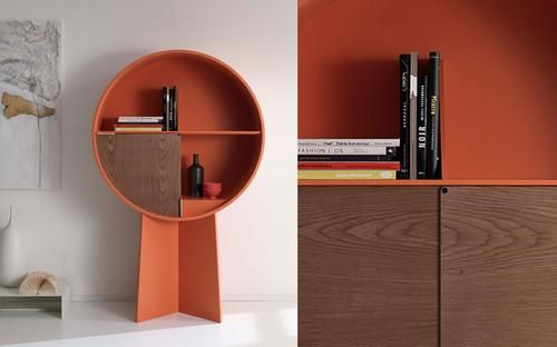Orange lacquered cabinet, 2 sliding doors half spheres bicolor or in varnished walnut veneer.