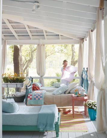 porch: Outdoor Curtains For Porches, Screens Porches, Sleep Porches, Porches Curtains, Back Porches, Porches Ideas, Dreams Porches, Outdoor Spaces, Cabins Porches