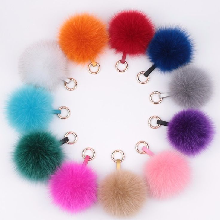 Freight Free - Free shipping Charm Fluffy fox fur ball pom poms key chains plush keychain car keyring Bag Purse Pendant