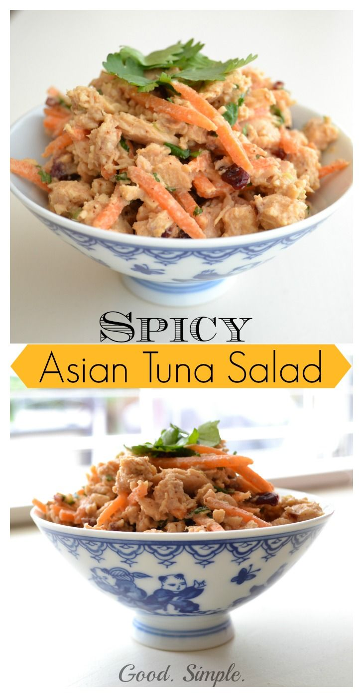 Spicy Asian Tuna Salad. It's delicious on its own, in a wrap, or over greens. Amazing texture, flavor and spice! Copycat recipe from Lifetime Fitness. Great #postworkout snack with tons of protein.