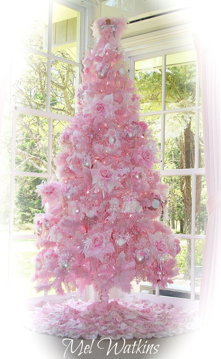 My shabby pale pink flocked Christmas Tree