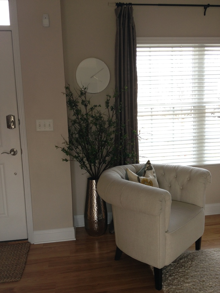 Target hammered silver floor vase, Pottery Barn branches