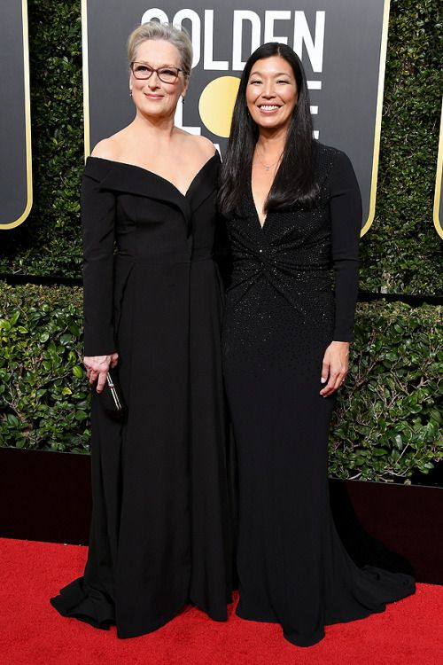 omgthatdress: Meryl Streep brought domestic worker's activist Ai-Jen Poo, which is so awesome, and a great way to step up your feminist game.