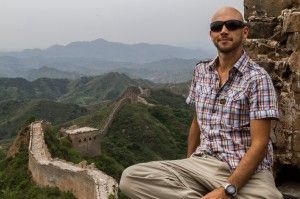 Photographer Jonathan Ferguson at the Great Wall of China