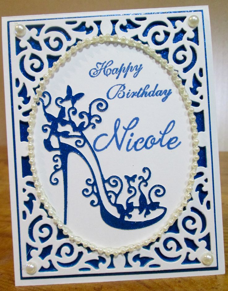 Spellbinders Filigree Delight and Tattered Lace High Heel Glam Birthday Card