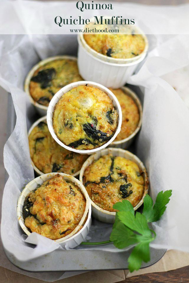Quinoa Quiche Muffins with Spinach and Cheese | www.diethood.com | Delicious, savory, crustless quiche muffins made with spinach, cheese and quinoa. | #recipe #cheese #quiche #muffins
