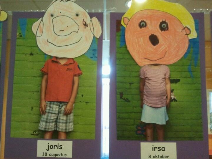 Tekenen: kinderen tekenen  eigen gezicht op hun foto. de oogjes worden erop geplakt.