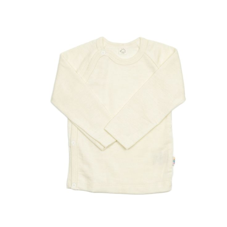 Kimono style baby blouse in wool & silk blend from Iobio