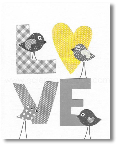 Nursery art prints, nursery wall art, baby nursery art, kids art, kids room decor, kids birds ,yellow, gray, LOVE 8x10 print. $14.00, via Etsy.