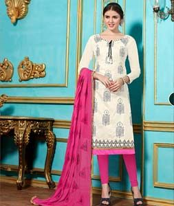 Buy Off White Cotton Churidar Suit 71869 online at lowest price from huge collection of salwar kameez at Indianclothstore.com.