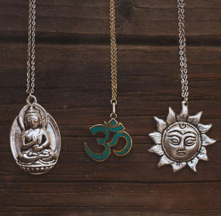 Buddha, Om, and sun necklaces. Perfect for summer! ♡ Available at MoonlightAndSoul.Etsy.com ☾