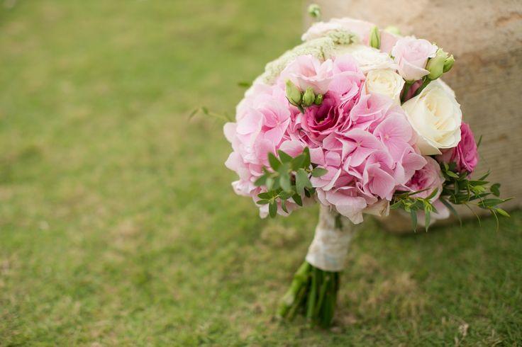 Sweet Blush Pink Hydrangea, Lisianthus & Garden Rose - Bouquet