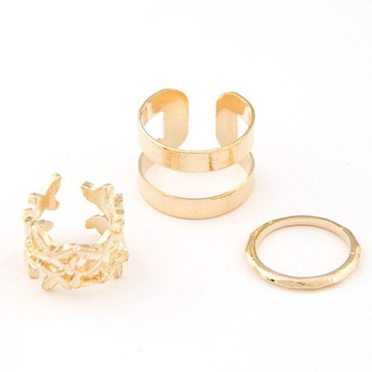Set de 3 anillos metálicos