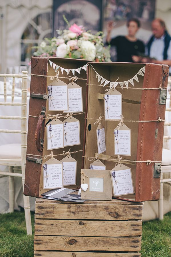 Vintage suitcase table plan / seating plan inspiration.   Taken from: A Nature-Inspired, Rustic Wedding in Cornwall: Styled Shoot Inspiration  For more wedding inspiration visit www.weddingsite.co.uk