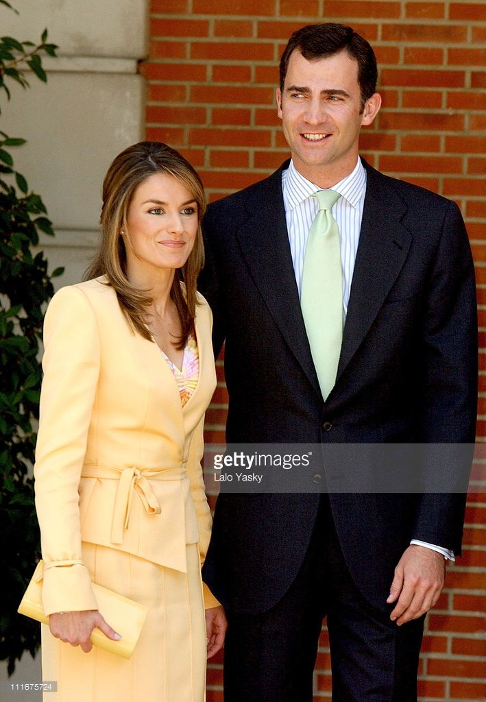 Letizia Ortiz and Crown Prince Felipe during Crown Prince Felipe and Fiance Letizia Ortiz Received by Spanish Prime Minister Jose Luis Rodriguez Zapatero and Wife Sonsoles Espinosa at La Moncloa Palace in Madrid, Spain.