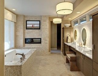So You Want a Bathroom Television.  Awesome bathroom with a TV.
