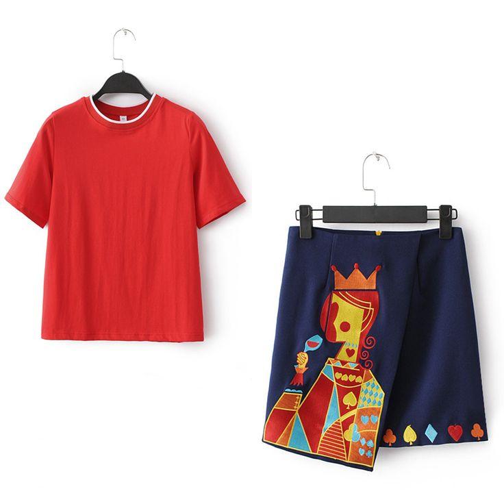 Оригинал одинокие женщины лета новых короткими рукавами футболки + вышивка…