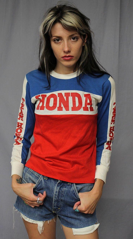 vintage   team honda motocross jersey  shirt  small ebay cool stuff pinterest