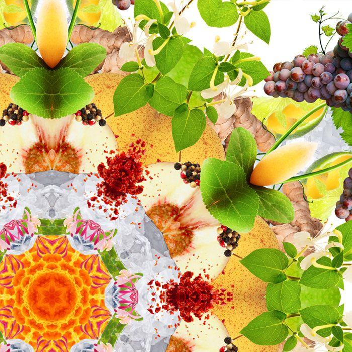 Un zoom de #Mandala de #Vino #PinotGris  Original Coleccion Limitada Impresa en Lienzo  Compuesta por: Madreselva, Especias, Sal, Albaricoque, Melocotón Blanco, Lima, Pera, Manzana Verde, Jengibre, Piel de Limón, Parra y Uva Pinot Gris.  www.mandala.info