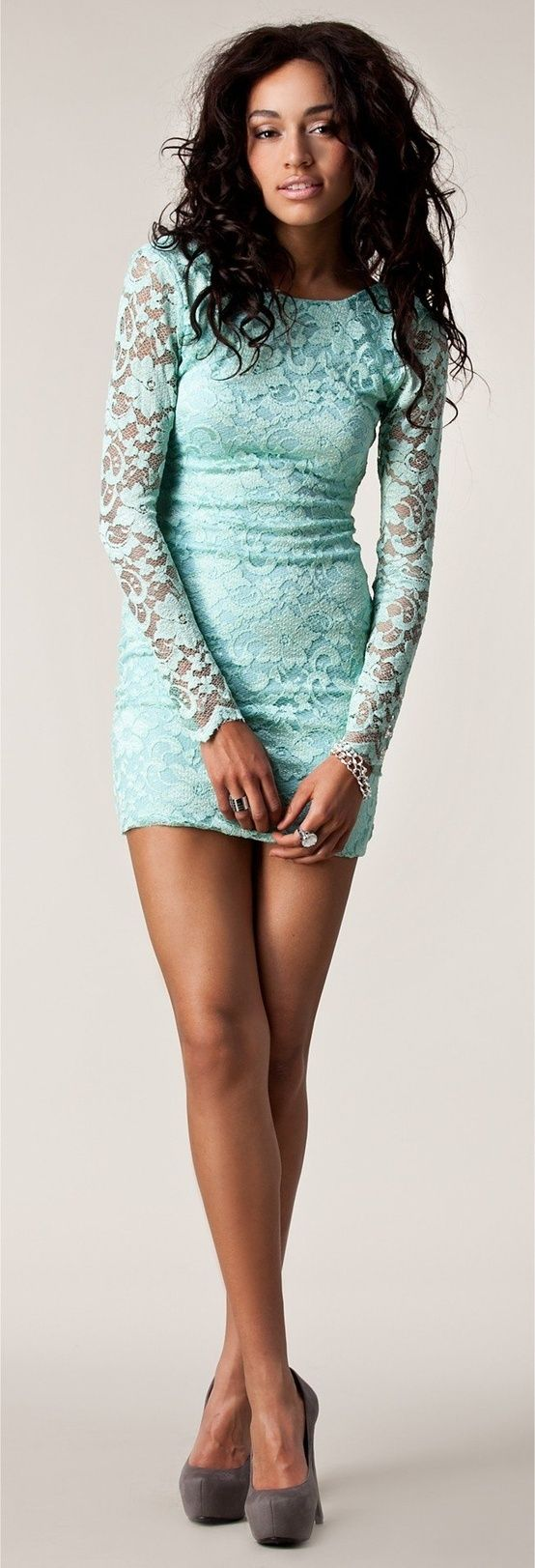 Mint lace long sleeve dress