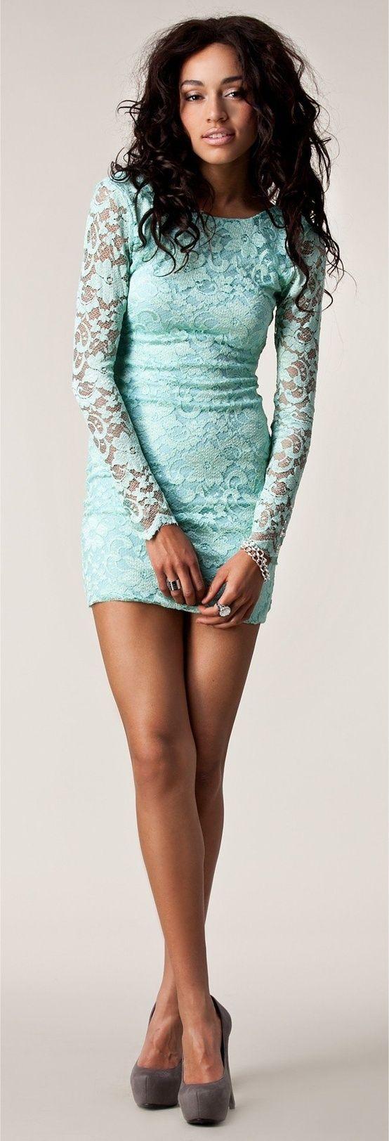 Mint lace long sleeve dress.