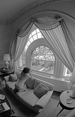 First Lady Betty Ford Looks Toward The Oval Office From A Window In The White  House