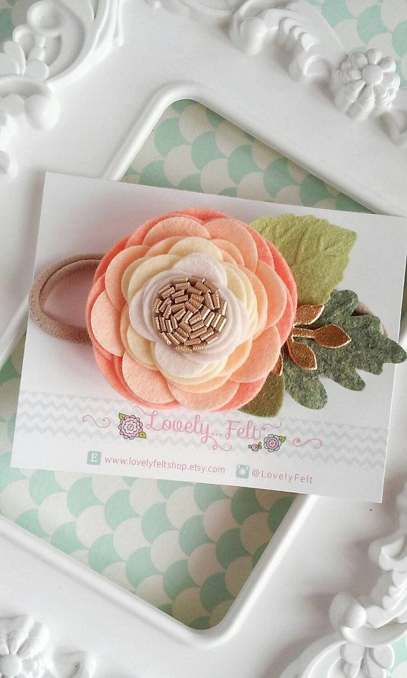 Peach Felt Flower Headband  Single Ombre Peach by LovelyFeltShop