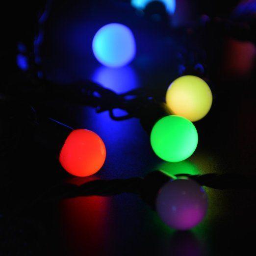 Amazon.com: lederTEK 50 RGB Ball LED Color Changing with 16 Feet Linkable Ball String Lights ...