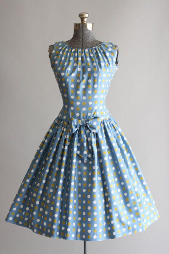 Vintage 1950s Dress / 50s Cotton Dress / French Blue Polka Dot Dress w/ Bow